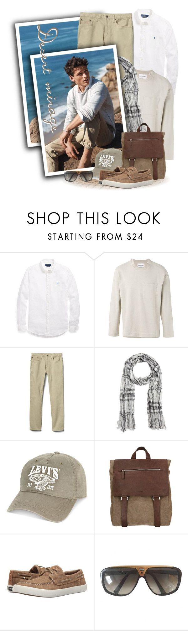 """Ocean-Wash Linen Sport Shirt"" by tasha1973 ❤ liked on Polyvore featuring Ralph Lauren, Our Legacy, Gap, John Varvatos * U.S.A., Levi's, Orciani, Sperry, Louis Vuitton, men's fashion and menswear"
