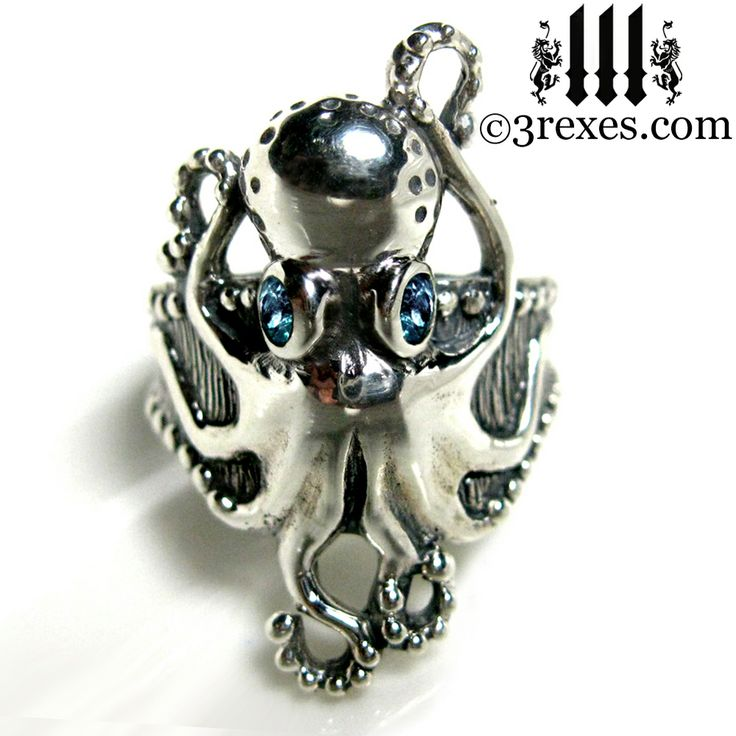 The silver Octopus Dream ring has two magical eyes, 8 whimsical legs and a textured band that is sprinkled with a countless number of studs. www.3rexes.com #octopus