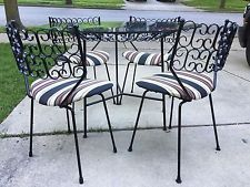 Mid Century Dining Set Table Chairs Umanoff Grenada Wrought Iron Patio Kitchen