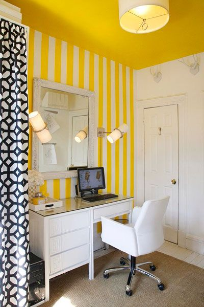 yellow office design with white desktop cabinets chair drum pendant lamp geometric drapes