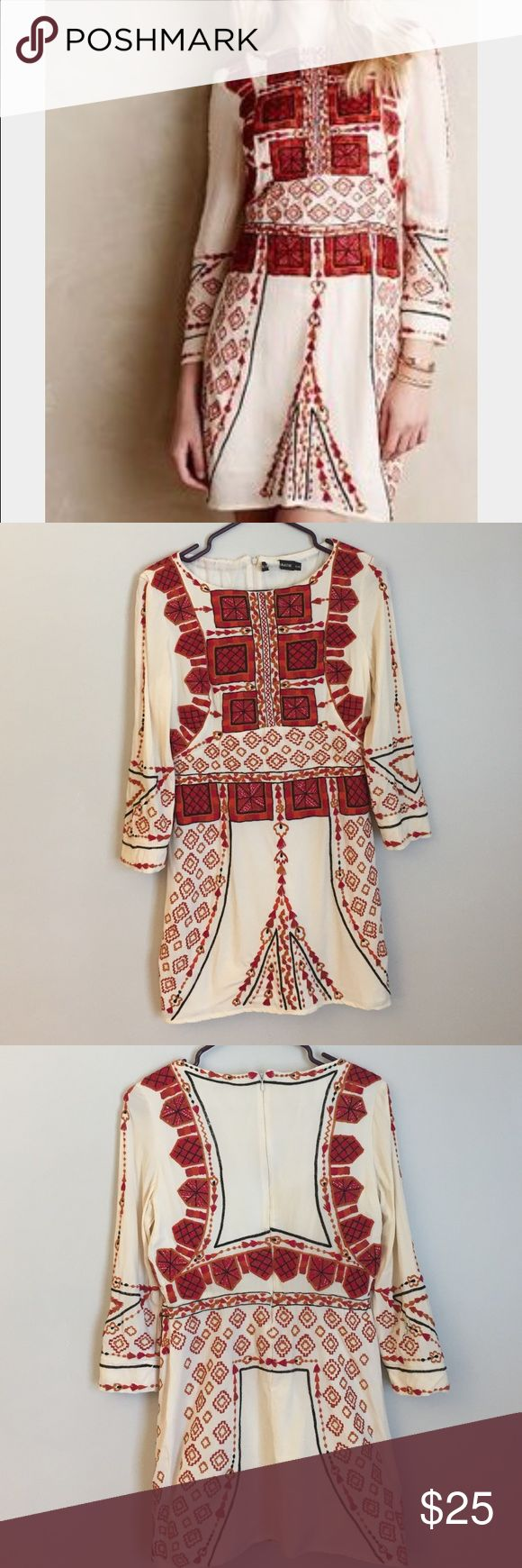 Anthropologie Antik Batik Embroidered Dress This dress has a few flaws. A couple marks on the back and a tear at the bottom of the zipper. None of these are very noticeable when on. Everyone will be looking at the beautiful Embroidery.  Would fit a 6/8 Antik Batik Dresses