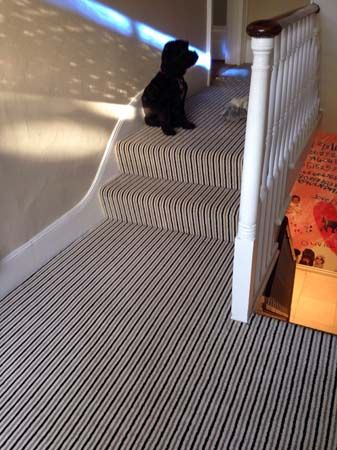 Client: Private Residence In East London Brief: To supply & install striped carpet to stairs