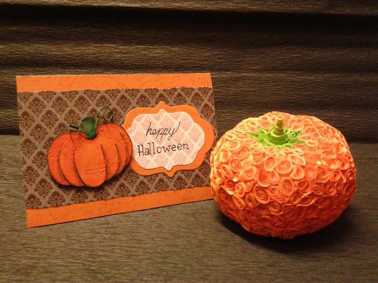Dynia quilling, kartka scrapbooking.  Autor: Dominika P. Halloween, pumpkin, autumn.