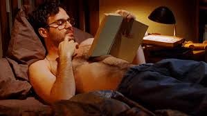 Mark Ruffalo. in bed. wearing glasses. reading a book. shirtless. <------ Yep... I can die happy now.