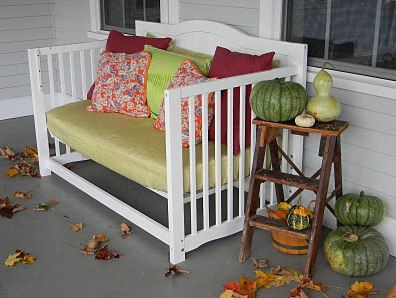 What to do with an Old Crib… 15 Great Ideas for Repurposing Baby Cribs!Old Cribs, Ideas, Benches, Crafty, Baby Beds, Diy, Front Porches, Crafts, Baby Cribs
