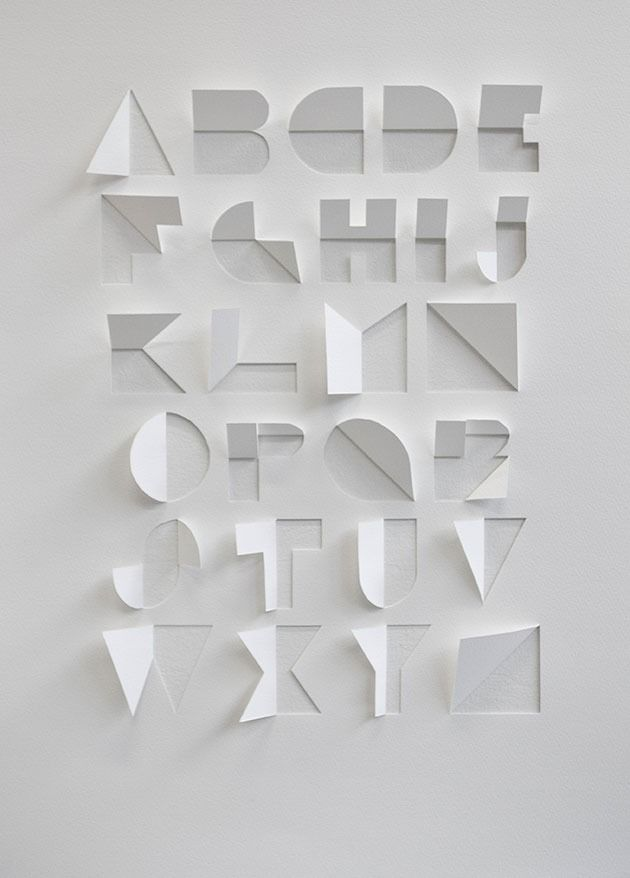 Found on the internet :Alphabet made out of a sheet of paper by cuts and folds by Gina Hollingsworth , a summer school student at Central Saint Martins in London.I discovered this perfect idea while looking at the blog  We Made This.