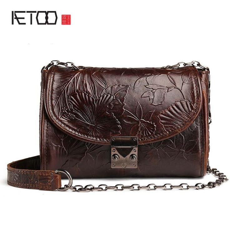 Cheap bag ladies, Buy Quality leather bag directly from China shoulder bags Suppliers: AETOO 17 new vintage Embossed leather bag ladies head cow leather oil wax skin handbags retro shoulder bag Messenger small bag
