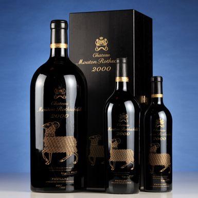 Château Mouton Rothschild 2000, 5 liters  Estimate: HK$ 50,000 – 70,000 / US$ 6,500 – 9,000  Château Mouton Rothschild 2000, 6 magnums  Estimate: HK$ 65,000 – 90,000 / US$ 8,500 – 12,000  Château Mouton Rothschild 2000, 12 bottles  Estimate: HK$ 80,000 – 110,000 / US$ 10,000 – 14,000