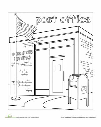 places around town coloring pages | Paint the Town: Post Office | educational ideas | Building ...