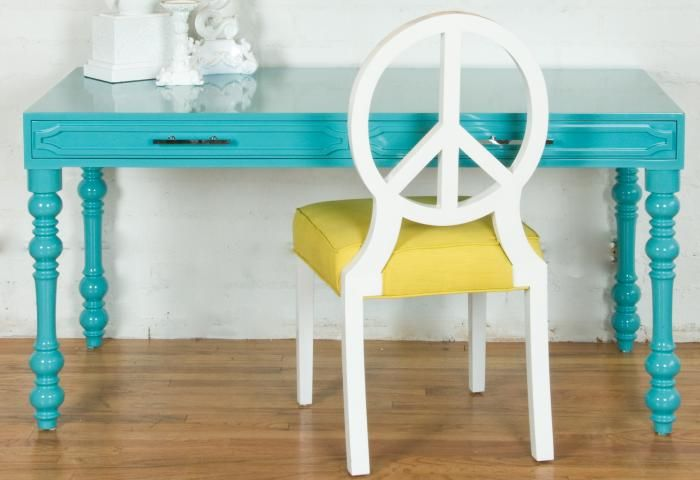 Peace Chair: Study Area, Colors Combos, Offices, Chairs, Peace Signs, Teal Desks, Turquoi, Rooms Service, Kids Rooms