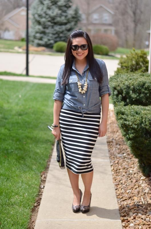 How to Style a Striped Midi Pencil Skirt