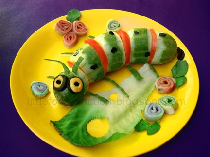 http://www.flickr.com/photos/smitasrivastava02/4031844798/in/faves-carlys-comfort-zone/ vegetable caterpillar! Cute way to get kids interested in veggies