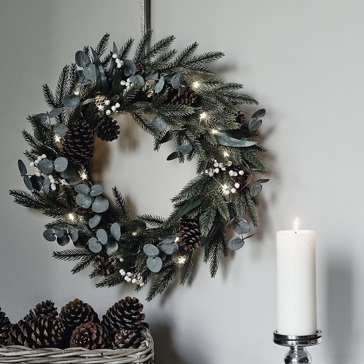 Fir & Snowberry Hanging Wreath | The White Company. Shopping from the US? -> http://us.thewhitecompany.com/Holidays/Wreaths-%26-Garlands/Fir-and-Snowberry-Hanging-Wreath/p/WRHFS?swatch=Green