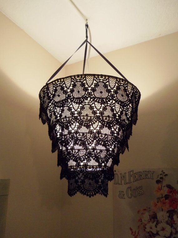 Venise Lace Faux Chandelier Pendant Lamp Shade Pretty Sure We Could DIY Easily