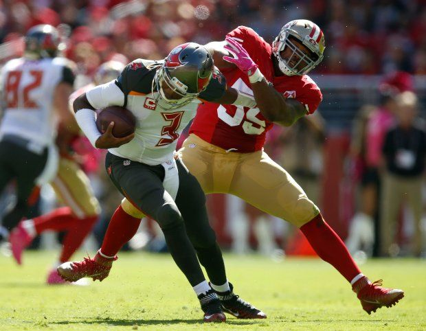Buccaneers vs. 49ers:     October 23, 2016  -  34-17, Buccaneers  -    Tampa Bay Buccaneers starting quarterback Jameis Winston (3) avoids a sack against San Francisco 49ers' Aaron Lynch (59) in the first quarter of an NFL game at Levi's Stadium in Santa Clara, Calif., on Sunday, Oct. 23, 2016. (Nhat V. Meyer/Bay Area News Group)