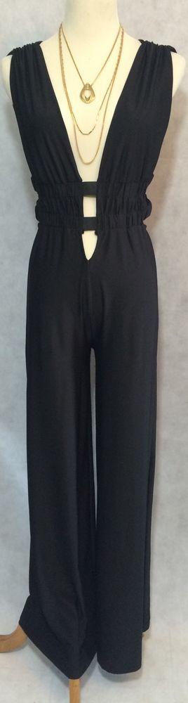 Women's Body Central Black Clubwear Deep V Cut Out Palazzo Pant Jumpsuit SZ S  | eBay