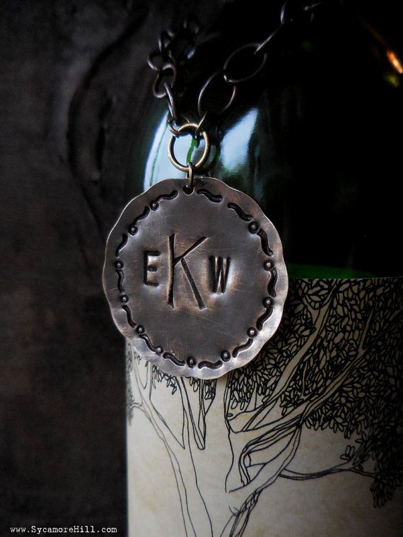 CUSTOM Bottle Tag for Wine, Liquor, Spirits. Hand Stamped Metal Bottle Tag, Label with Monogram or Initial. Hostess Gift Idea for Home Bar.