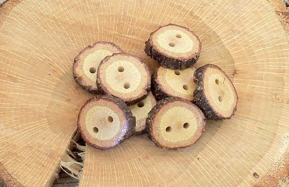 Wood Buttons  Tiny Wood Buttons  8 small Black Jack tree