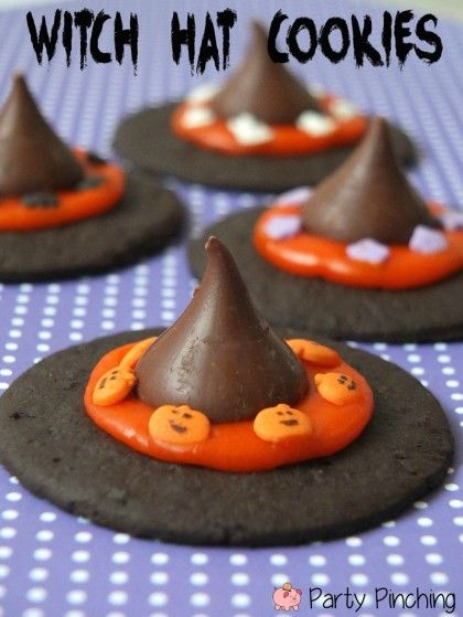 witch hat cookies....lots of Halloween treats for kids.
