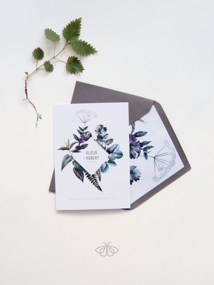 Botanical, herbal, green wedding invitation stationery minimal bride zaproszenia…