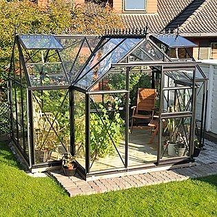 """Janssens -Junior Orangerie greenhouse - T-shaped: 10'3"""" deep x 13' long x 98"""" high"""
