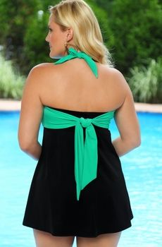 Women's Plus Size Swimwear - Always For Me In Control Wrap Bandeau Swimdress