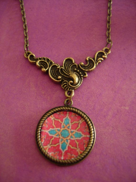 Bohemianhippieart illustrated necklace  by a Pink by eltsamp, $30.00