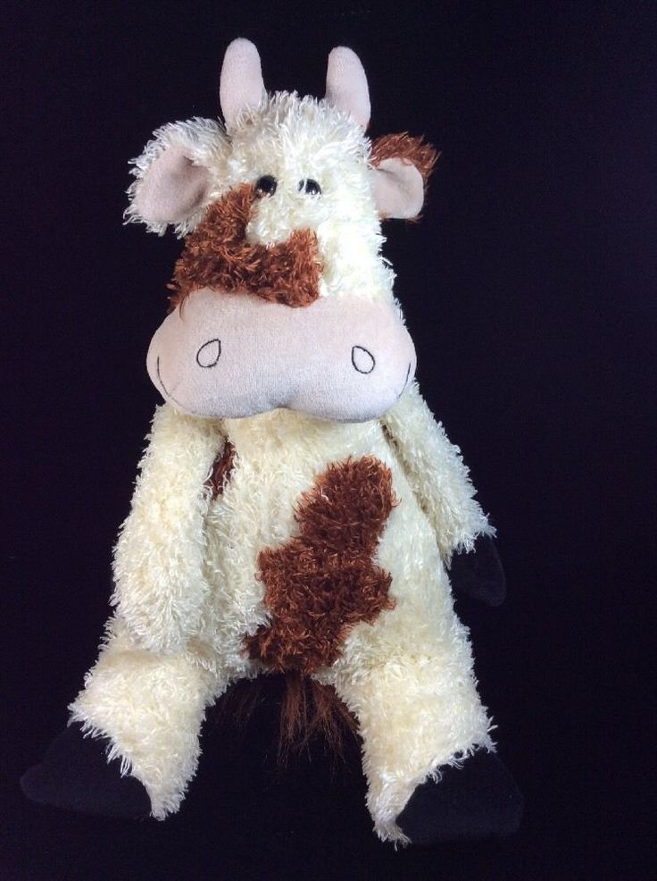 "Jellycat Bunglie Cow Cream Brown Plush Soft Toy 17"" Stuffed"