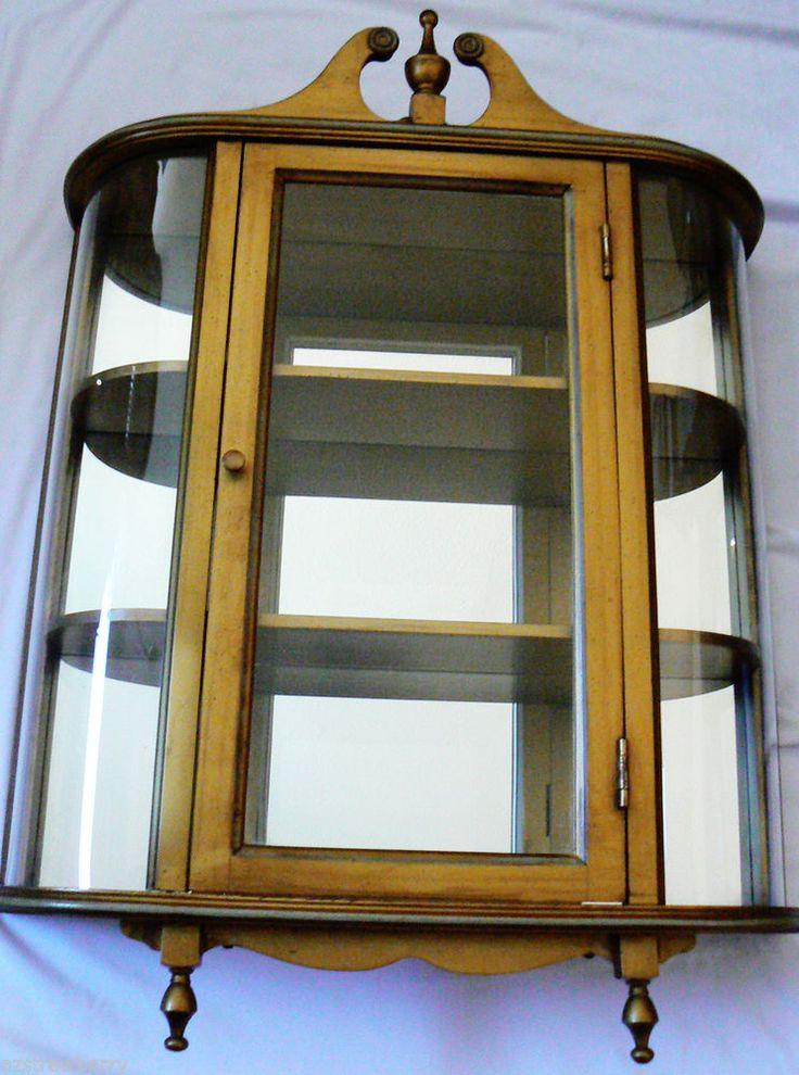 butler 3 shelf wood mirror concave curved glass curio. Black Bedroom Furniture Sets. Home Design Ideas