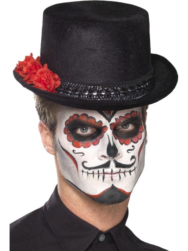 Day of the Dead-silinterihattu. Teeman mukaisesti punaisin ruusuin koristeltu hattu on näyttävä lisä tyylikkääseen naamiaispukeutumiseen.