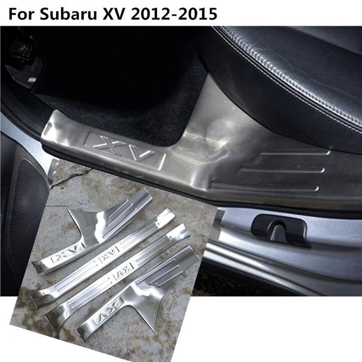 Stainless Steel Pedal Door Sill Strip Scuff Plate Frame internal inner Cover Threshold hoods for Subaru XV 2012 2013 2014 2015 #Affiliate