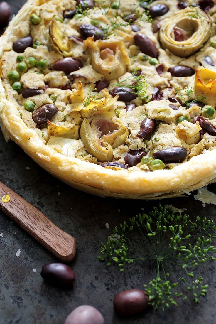 Vegan Olive and Artichoke Tart - would need to replace crust with something…