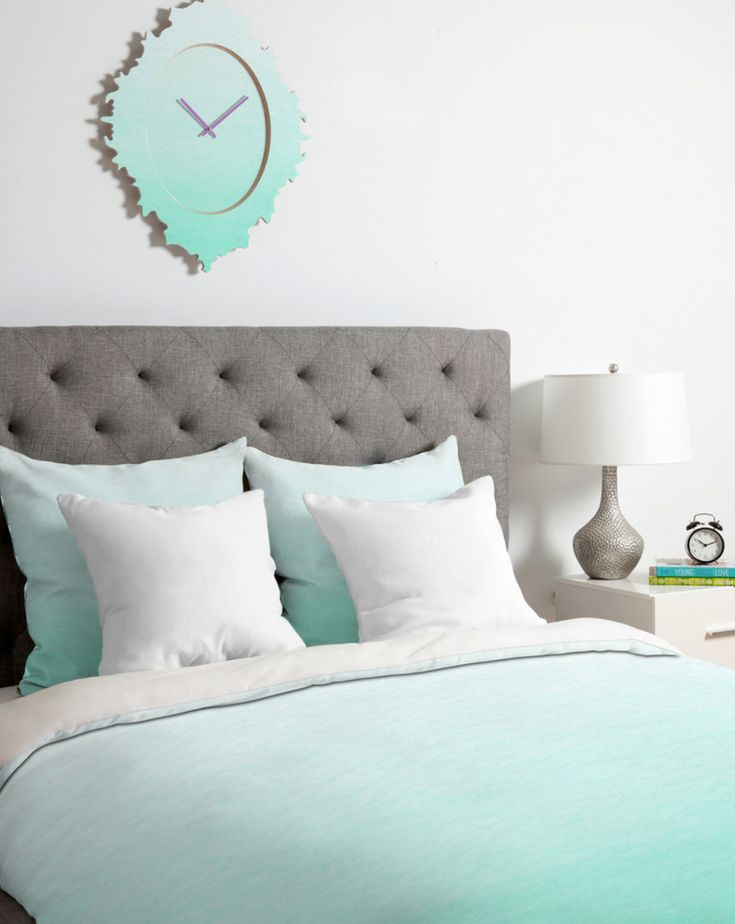 Slaapkamer Accessoires Voetbal : Mint Green and Grey Twin Bedding