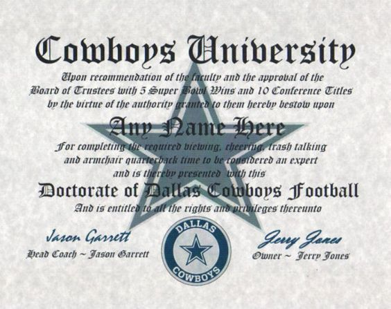 DALLAS COWBOYS ~ football fan ~certificate ~ diploma ~gift ~sign ~ man cave ~ office ~ dorm