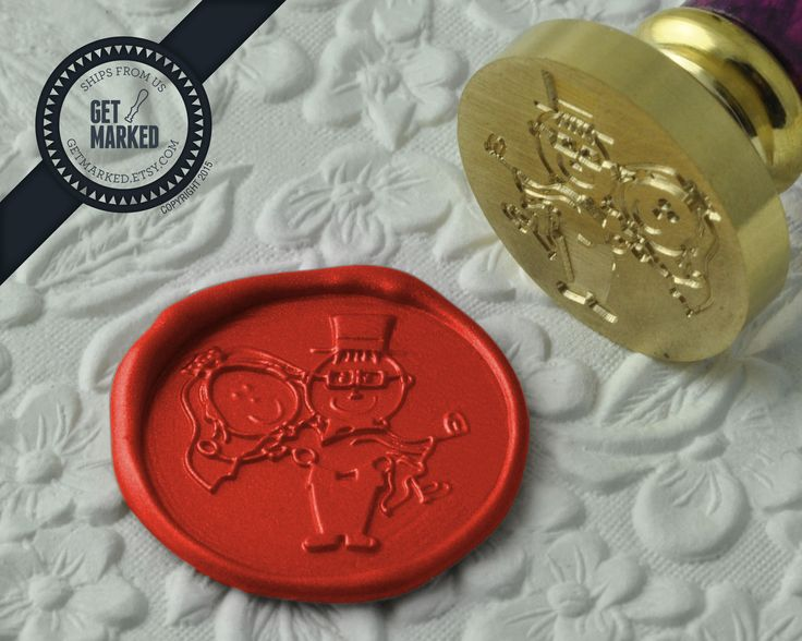 Bride & Groom - Wax Seal Stamp by Get Marked - Wedding Collection (WS0187).  The stamp is ideal for wedding, engagement party and bridal shower invitations. #GetMarked, #waxsealstamp, #waxseal, #wax, #wedding, #invitation