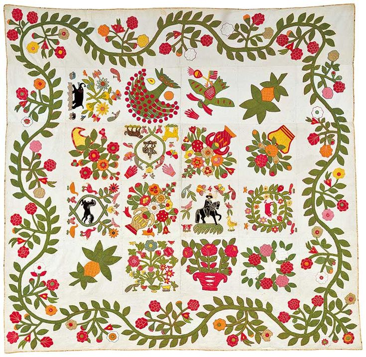 "Reiter Family Album Quilt/ Artist unidentified, 1848–1850, cotton and wool, 101 x 101"", Collection American Folk Art Museum, New York, gift of Katherine Amelia Wine, 2000.2.1 Photo by John Parnell"