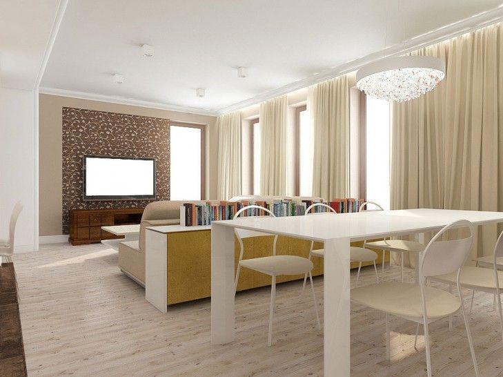 Projekt wnętrza otwartego salonu wraz z jadalnią – Tissu. Inwestorzy przenieśli kilka starych mebli z poprzedniego mieszkania. Całość połączona jest żółtymi dodatkami. http://www.tissu.com.pl/zdjecia/273