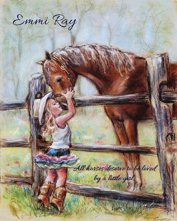 Custom Children's Art, girl and horse Cowgirl Personalized Names, quote, Color, art Print, Laurie Shanholtzer artist