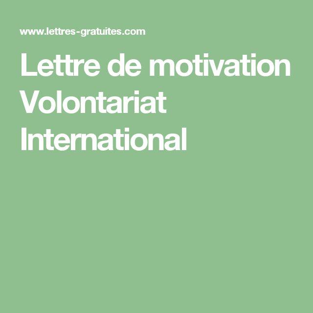 Lettre de motivation Volontariat International