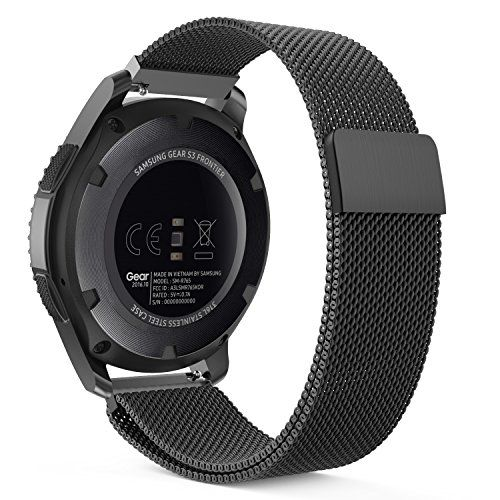 Gear S3 Watch Band, MoKo Milanese Loop Stainless Steel Mesh Smart Watch Strap for Samsung Gear S3 Frontier / S3 Classic / Moto 360 2nd Gen 46mm Smartwatch, BLACK (NOT FIT S2 & S2 Classic & Fit2)  ◆ NOTE: NOT FIT S2 & S2 Classic Watch & NOT FIT Samsung Gear Fit2 SM-R360 Smart Watch. ◆ Custom designed for your precious Samsung Gear S3 Frontier / S3 Classic / Motorola Moto 360 2nd Gen 46mm Smart Watch, this MoKo Noble Stainless Steel Samsung Watch Band features a combination of functional...