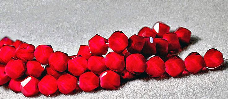 Twisted Ruby- faceted crystal hex beads by FireSpirit on Etsy https://www.etsy.com/listing/60062805/twisted-ruby-faceted-crystal-hex-beads