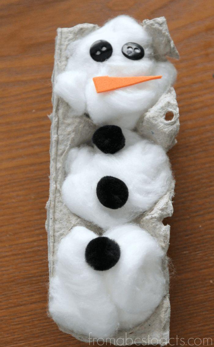 Winter Crafts for Preschool - Egg Carton Snowman