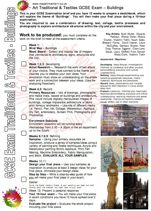 GCSE Art and Design/Art Textiles Exam Brief: Buildings