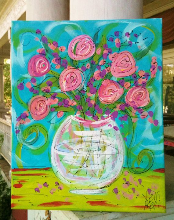 Roses in a Glass Vase Original Painting Childrens by YelliKelli, $50.00
