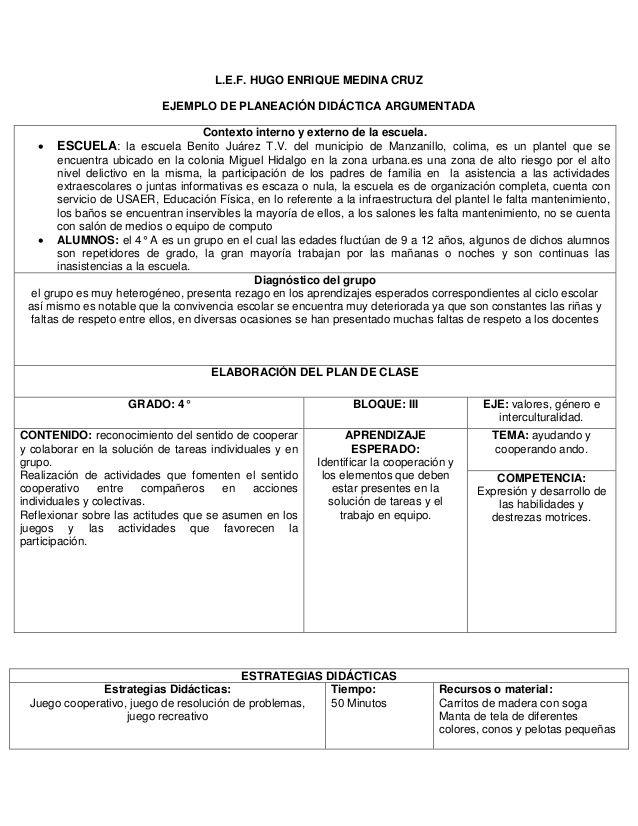 L.E.F. HUGO ENRIQUE MEDINA CRUZ EJEMPLO DE PLANEACIÓN DIDÁCTICA ARGUMENTADA Contexto interno y externo de la escuela.  ES...