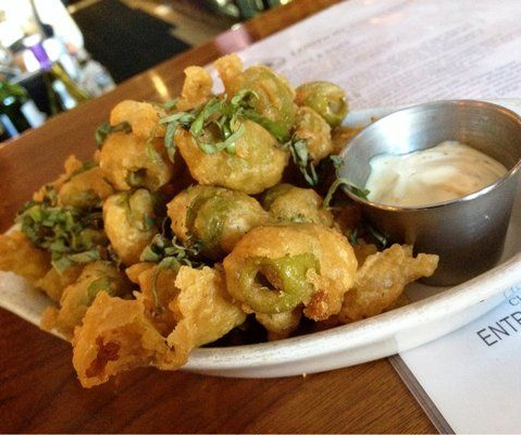 my new favorite pub food  Fried Olives with Lemon Aioli   sooo good paired with a yummy Chardonnay