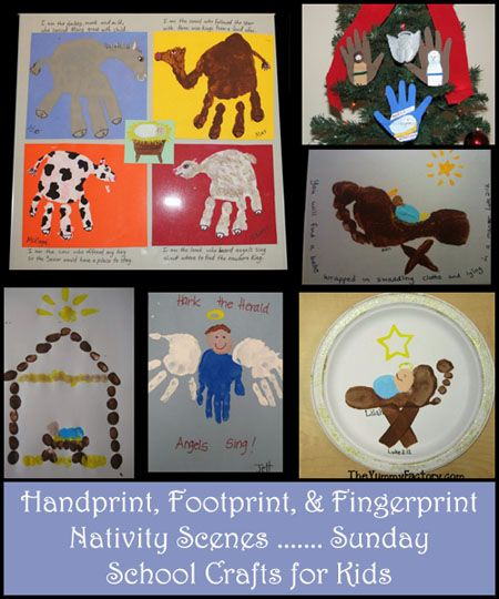 Help teach kids about the true meaning of Christmas with these fun crafts: Footprint Manger, fingerprint baby Jesus & 3 Wise Men, Handprint Angel & Nativity Scenes #keepsake #sundayschool #homeschool