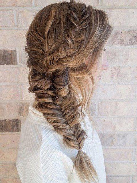 voluminous fishtail braid with messy hair down #fall #wedding #hair