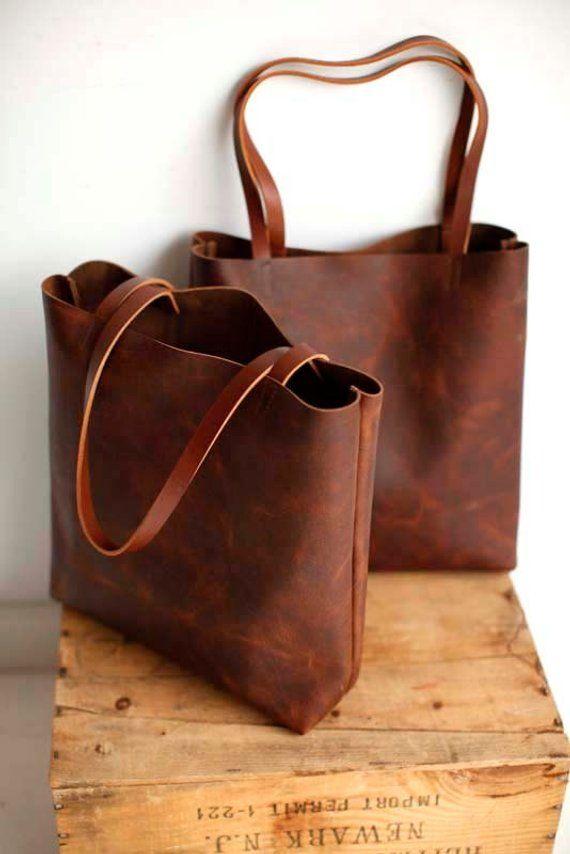 Sale -Brown Leather Tote Bag – brown leather bag – Brown Leather Travel Bag – Leather Market bag – l