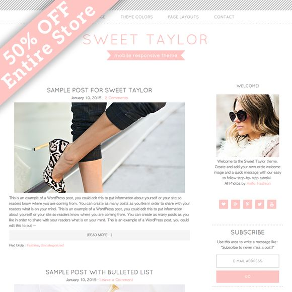 Sweet Taylor WordPress Theme by Studio Mommy on Creative Market